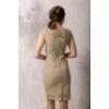 Kép 4/6 - Lafei Nier csipkegalléros homokszínű ruha