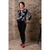 Kép 2/7 - Fekete - fehér virágmintás cashmere pulover