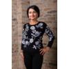 Kép 3/7 - Fekete - fehér virágmintás cashmere pulover