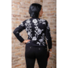 Kép 5/7 - Fekete - fehér virágmintás cashmere pulover