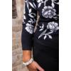 Kép 7/7 - Fekete - fehér virágmintás cashmere pulover