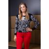 Kép 11/11 - Fekete - fehér nagyvirágmintás cashmere pulover