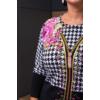 Kép 3/7 - Fekete - zippzár mintás rózsaszín cashmere pulover