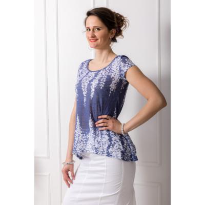 Lafei Nier kék, virágmintás póló