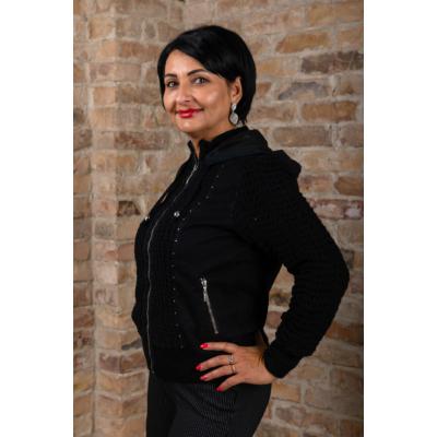 Lafei Nier bélés nélküli, fekete kötött kabát