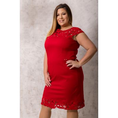 lafei nier csipkegalléros piros ruha