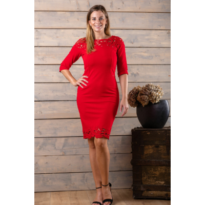 Lafei Nier - Rayon csipkegalléros, piros ruha