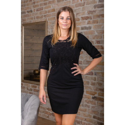 Lafei Nier - Rayon csipkés fekete ruha