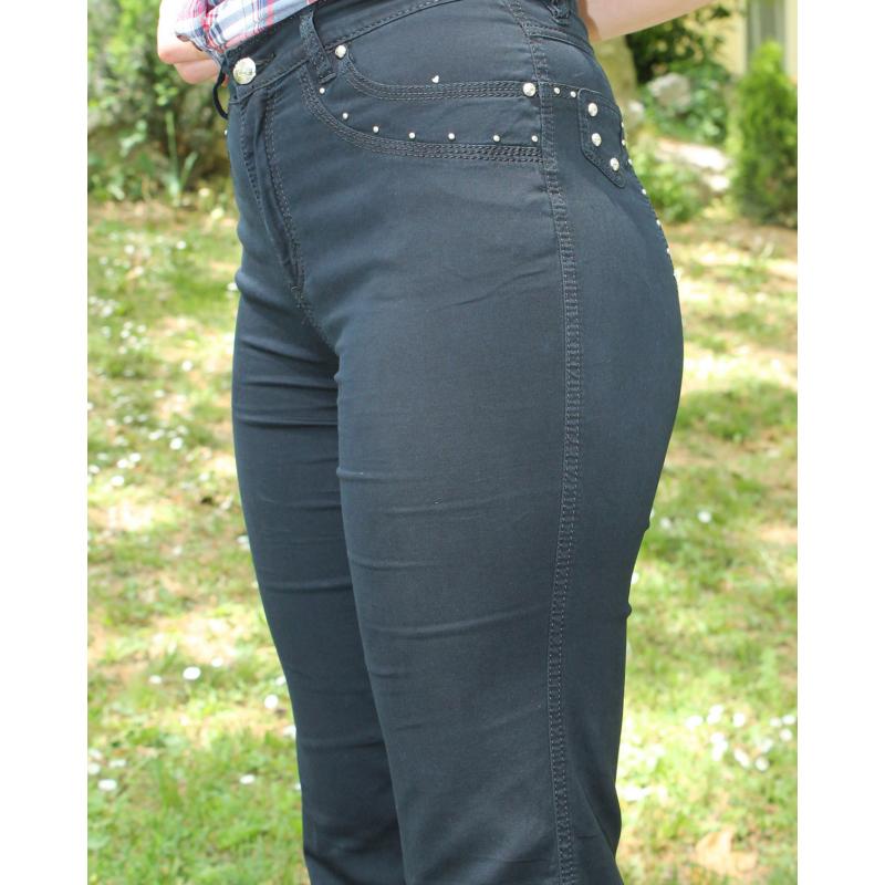 Lafei Nier vékony alap díszítésű fekete farmernadrág