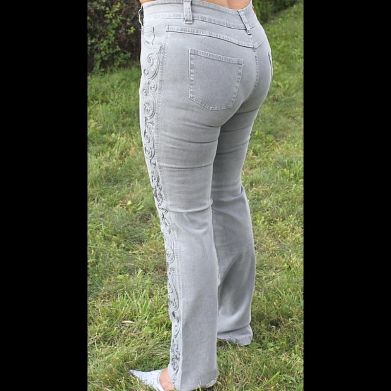 Lafei Nier oldalt hímzett szürke farmernadrág