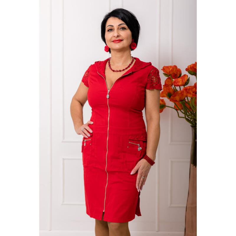 Lafei Nier csipke kapucnis, piros ruha