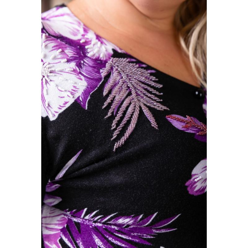 Fekete - lila virágmintás cashmere kardigán