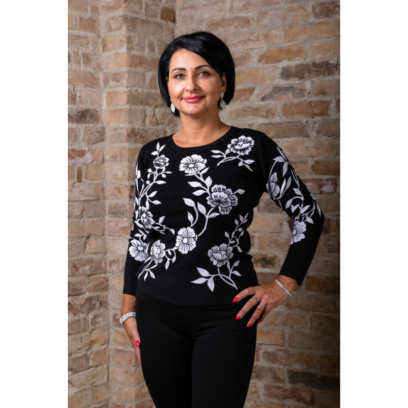 Fekete - fehér virágmintás cashmere pulover