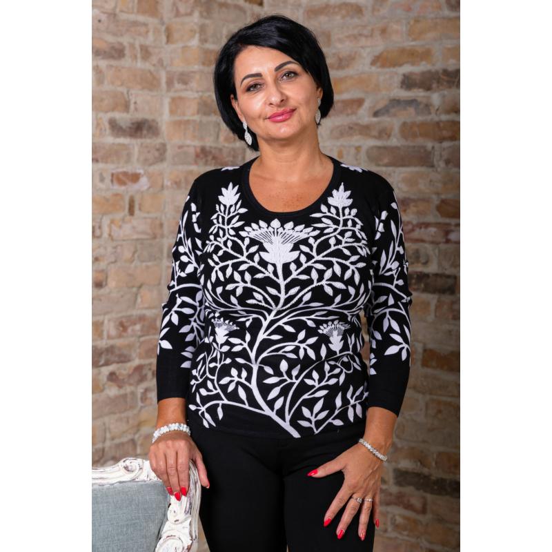 Fekete - fehér nagyvirágmintás cashmere pulover