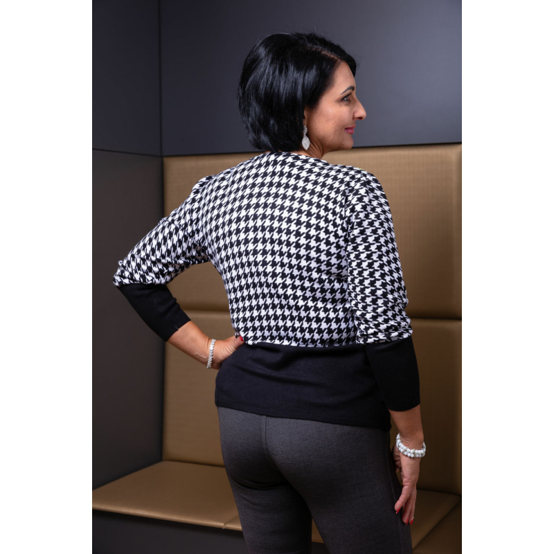 Fekete - zippzár mintás rózsaszín cashmere pulover